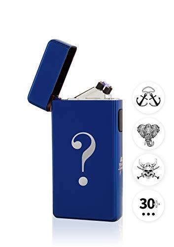 TESLA Lighter T13 Lichtbogen Feuerzeug, mit Wunsch-Gravur, personalisiert als Geschenk zu Weihnachten, Geburtstag etc. Elektronisches Feuerzeug, wiederaufladbar per USB inkl. Geschenkverpackung Blau