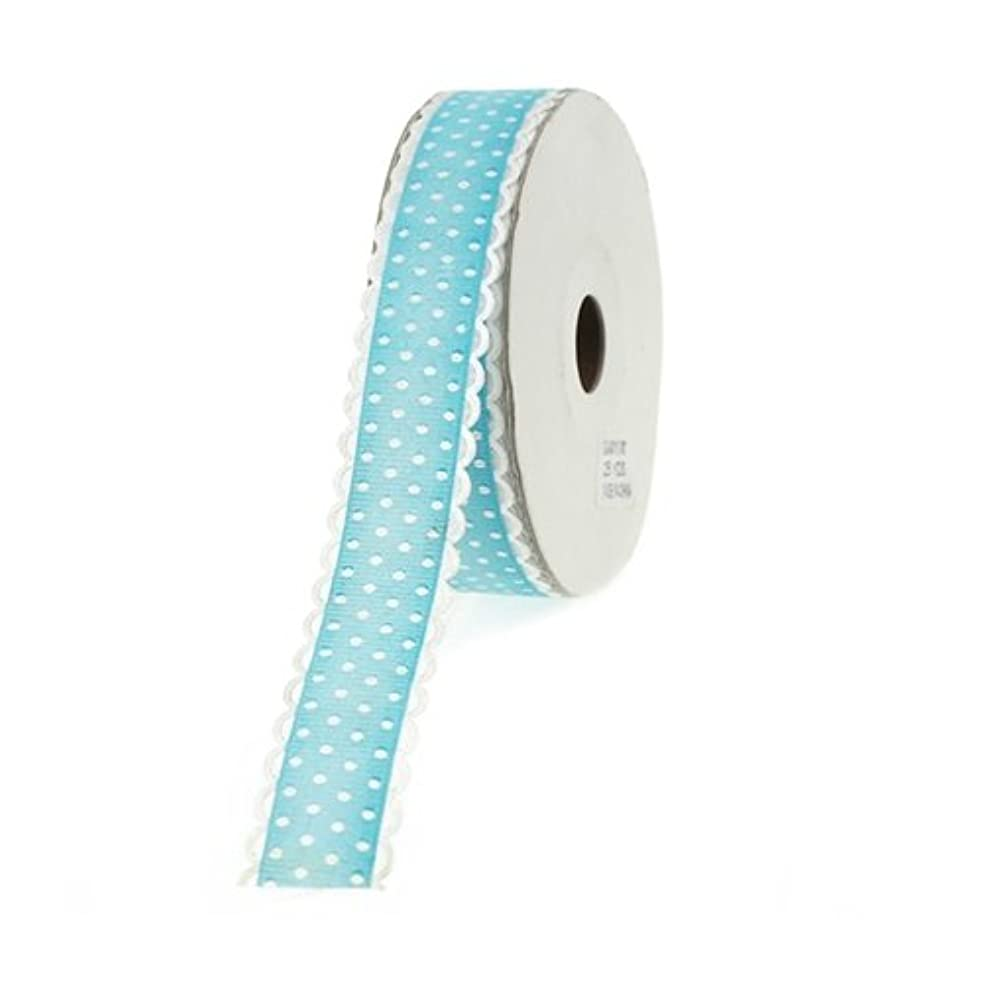 Homeford Firefly Imports Polka-Dot Polyester Ribbon Scalloped-Edge, 7/8-Inch, 25 Yards, Turquoise, 7/8