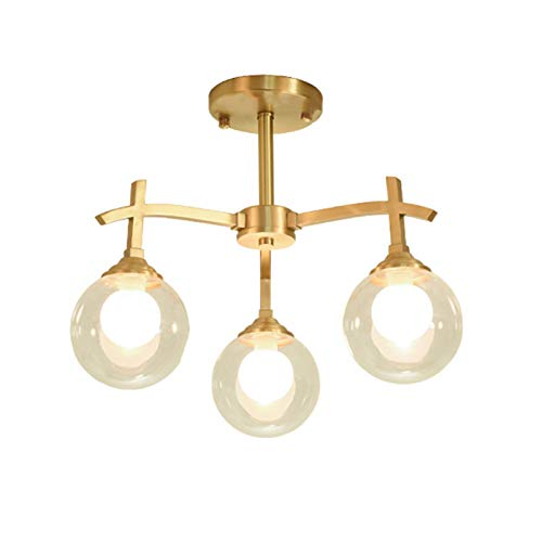 Sputnik Candelabro LED Lámpara De Techo,8 Luzs Mundo Doble-vidrio En Capas Para La Sala De Estar Restaurante Cocina,Montaje Semi-lavado Frijol Mágico Molecular Lámpara De Techo-Dorado 3 luces