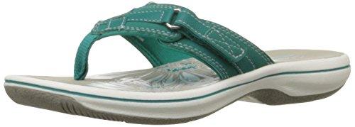 Clarks Women's Breeze Sea Flip Flop, Teal, 5 B(M) US
