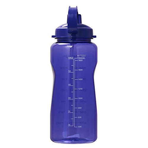 Botella De Agua 2L con Paja De Silicona, Botella Deportiva con Marcador De Tiempo, BPA Gratis, Jarras De Agua De Boca Ancha Portátil para Gimnasio, Cocina, Trabajo