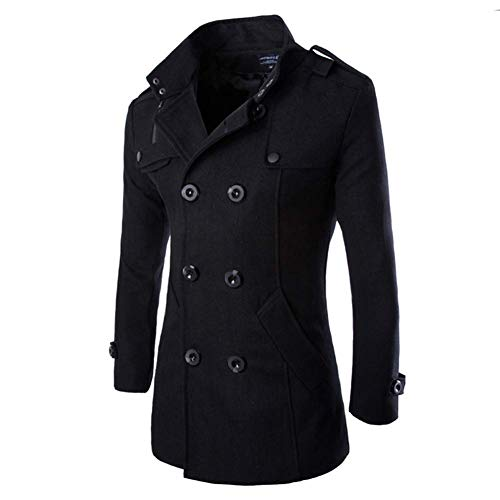 Sabarry Mens Double Breasted Pea Coat Long Jacket Slim Fit Long Sleeve Casual Lightweight Jacket Parka Trench Coats Blazer Outerwear