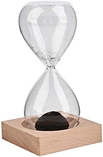 Hand-Blown Timer Clock Magnet Magnetic Crafts Sand Clock Hourglass Timer Christmas Home Decoration Best Gift - Black(Sand) & Clear(Glass)