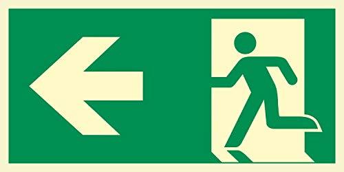 Rettungsweg links Notausgang Rettungswegschild Schild Nachleuchtend ASR A1.3 400 x 200 mm