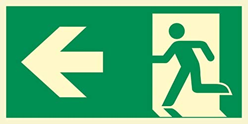 Rettungsweg links Notausgang Rettungswegschild Schild Nachleuchtend ASR A1.3 300 x 150 mm