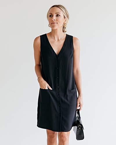 The Drop Vestido para Mujer, sin Mangas con Escote en Pico, Negro, por @jaceyduprie