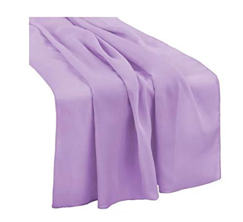 Table Runner Chiffon Bulk Silk Lavender Event Party Supplies Table Cloth Romantic Wedding Decor Handmade Chiffon Velvet Table Runner Boho Vintage Woodland (Lavender, 72 in / 183 cm)