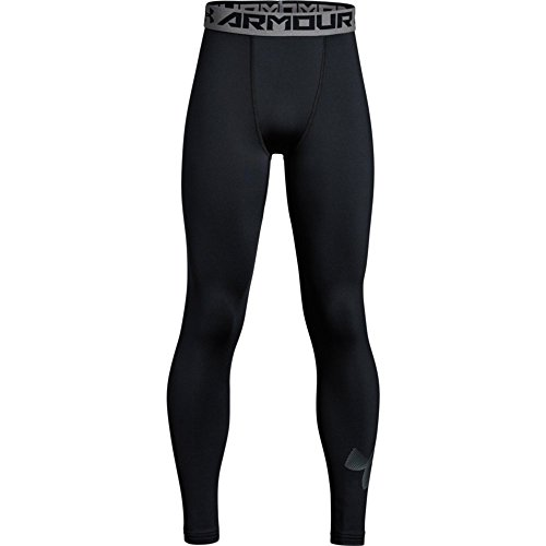 Under Armour Boys' ColdGear Leggings, Black (001)/Graphite, Youth Large