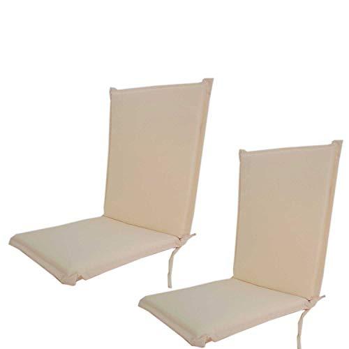 Edenjardi Pack 2 Cojines para sillón de jardín reclinable estándar Beige, Tamaño 92x42x4 cm, Desenfundable