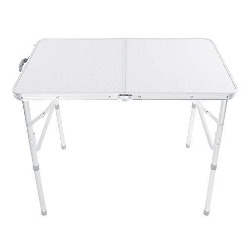 Zoternen Klapptisch, Tragbar Picknicktisch aus Aluminiumlegierung, Camping Klapptisch mit höhenverstellbaren Beinen, 90 x 60 x 70 cm