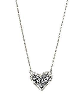Kendra Scott Ari Heart Adjustable Length Pendant Necklace for Women Fashion Jewelry Rhodium-Plated Platinum Drusy