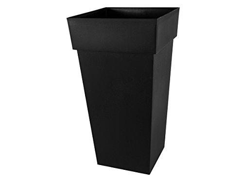 EDA Plastiques Pot TOSCANE XXL carré gris anthracite - 43,3 x 43,3 x 80 cm - 98 L