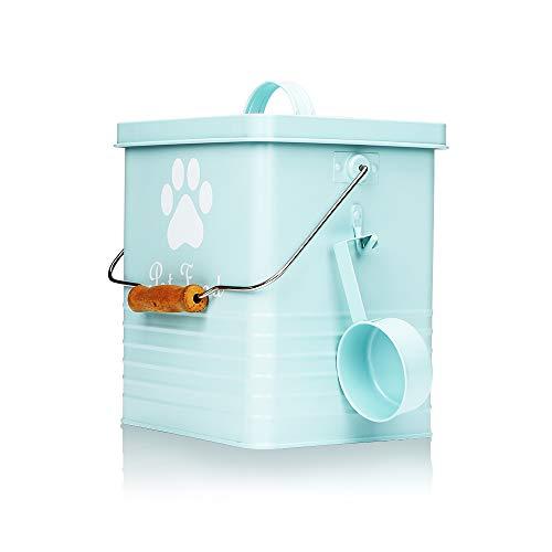 Fushida lata de almacenamiento de alimentos para mascotas con tapa y práctica pala, lata de almacenamiento de alimentos, contenedor de acero al carbono para mascotas