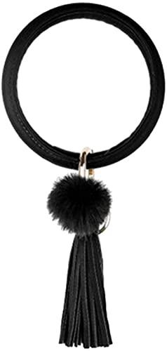 ZKZKK Pulsera de la Riqueza Feng Shui Pulsera de Cuero de Gran tamaño Llavero círculo Tassel Pulsera Brazalete Llavero con Pom para niñas Puede traer Suerte y Prosperidad (Color : Black)