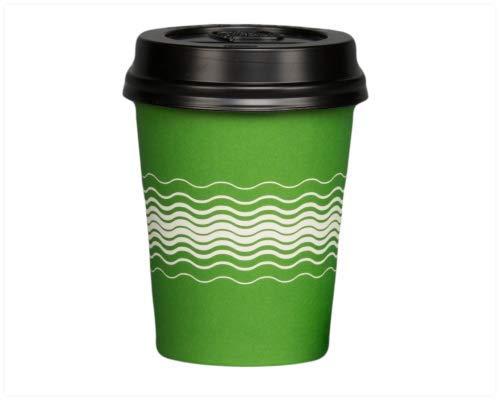 100 x 8 oz Papier Bekers Groene Golf & Zwart SIP Deksels Wimbledon Kleur Partij Thee Koffie Koude Hete Drankjes Weg Verjaardag Party