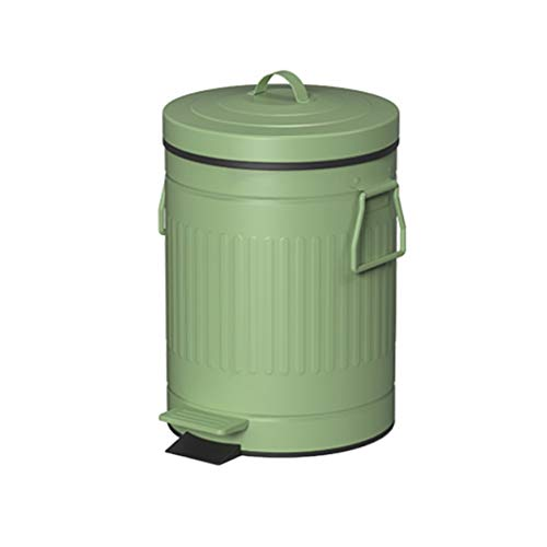 Retro Bote De Basura Hogar Sala De Estar Baño Aseo con Funda Foot Creative con Pedal Bin Fácil Cerrar (Color : Green, tamaño : 12L/3.1 gallons)
