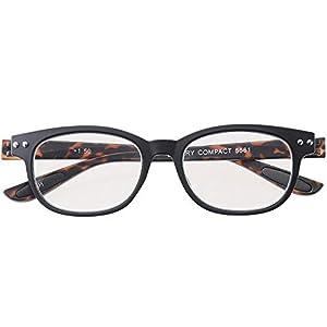 老眼鏡 ブルーライトカット 携帯 軽量 おしゃれ ウェリントン colorfulook ブラック デミ 度数+0.50 (カラフルック 軽量 形状記憶 フレーム) 5561-05