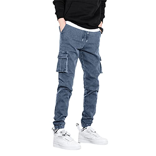 Pantalones vaqueros de carga para hombre con bolsillos laterales para hombre, pantalones de mezclilla ajustados, pantalones vaqueros negros, Blue Jeans Hombre, Medium