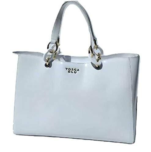 Tosca Blu Key West borsa a mano Bianco vera pelle Donna vernice 35x25x13 cm