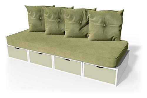 ABC MEUBLES - Banquette Cube 200 cm + futon + Coussins - BANQ200 - Blanc/Moka, Sable