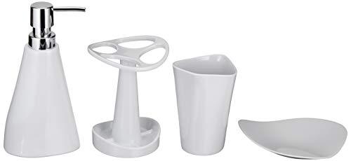 Amazon Basics 4 piezas - Juego de accesorios para cuarto de baño - Blanco liso