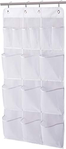 MISSLO Mesh Shower Organizer Hanging 15 Pockets Bathroom Storage Extra Large Capacity for Toiletry Accessories White