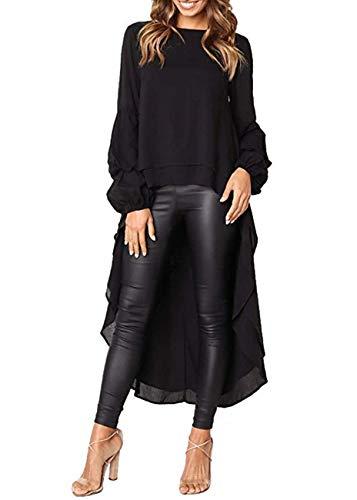 Aiscool Women's Lantern Long Sleeve T-Shirt Round Neck High Low Dress Asymmetrical Irregular Hem Casual Tops Blouse (Black, XXL)