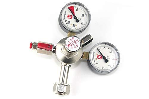 Hiwi-Druckregler für Bier-CO2-Anlagen, einleitrig, 2 Manometer, Mehrwegflaschen