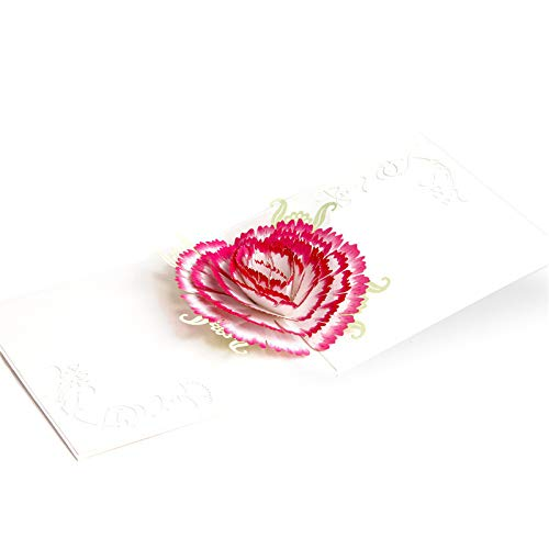3D Mothers Day pop up Cards-Greeting Cards Three-Dimensional Paper Carving Handmade Mother s Day Card Gift Birthday Anniversary Greeting Cards Carnation Flowers