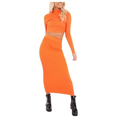 SETSAIL Damen Langarm Casual High Neck Top Rock Zwei Stücke Solide Set Anzüge Einfarbiger Anzug mit Langen Ärmeln