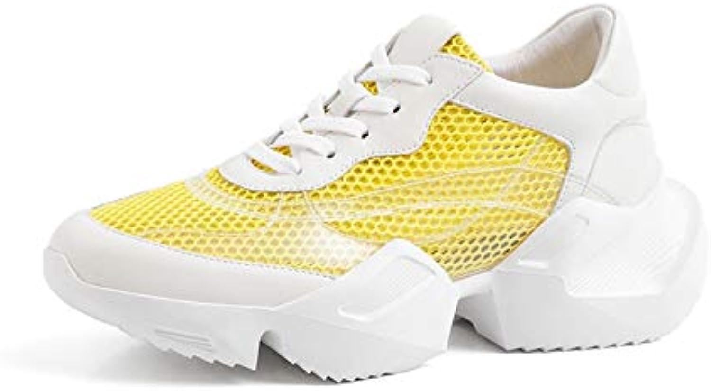 MENGLTX High Heels Sandalen 2019 Top Qualitt Echtes Leder + Mesh Schuhe Frau Turnschuhe Atmungsaktive Lace Up Frühling Sommer Freizeitschuhe Frau Gelb