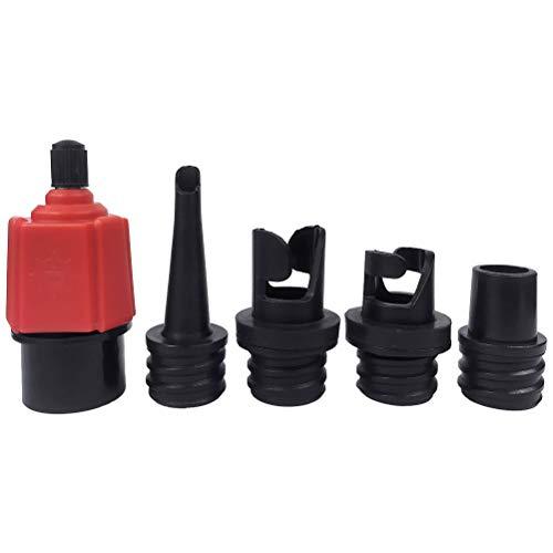 COTTILE SUP Aufblasbarer Adapter für Schrader Ventile 1PC SUP Surf Paddle Ventiladapter und 4PCS Gasdüse für Schlauchboote (Rot)