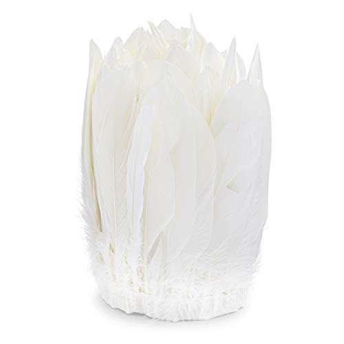 White Goose Feather Trim for Crafts, Costumes, Decorations (7 Inches x 3 Yards)