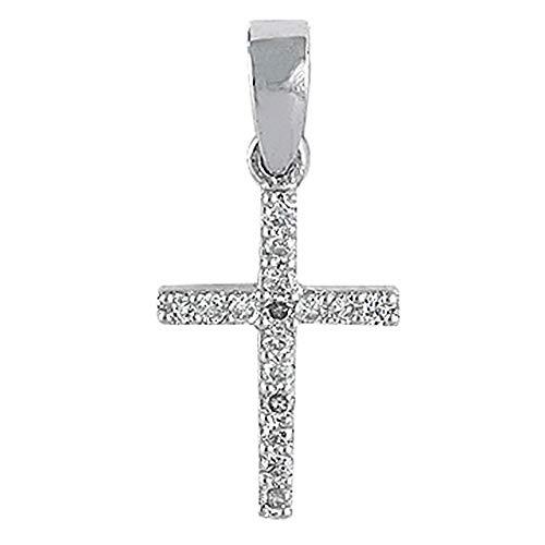 Colgante oro blanco 18k cruz 10mm. colección Olimpia diamantes 0.09ct. brillantes