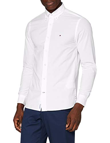 Tommy Hilfiger Herren Peached Soft Poplin Shirt Hemd, White, L