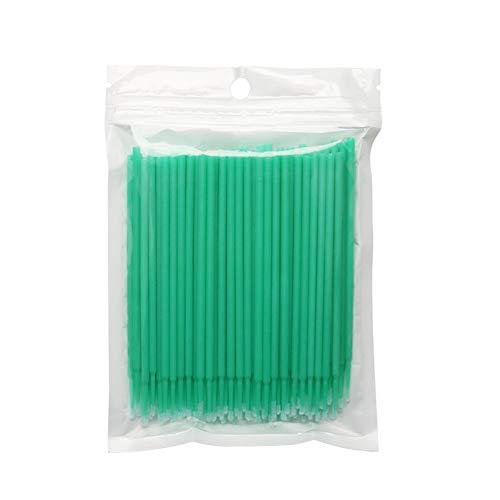 Lot de 200 micro pinceaux applicateurs jetables pour cils et cils - Pour extensions de cils - Propre et compatible - Pour soins personnels - Pinceau de maquillage - Brosse à sourcils - Pointe de 2 mm - Poignée vert clair