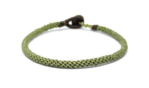 La pulsera budista tailandesa hecha a mano de Origin Siam   Pulsera delgada tejida ajustada unisex   Para la meditación de Karma Luck Love Friendship Yoga   Regalo perfecto (verde oliva)