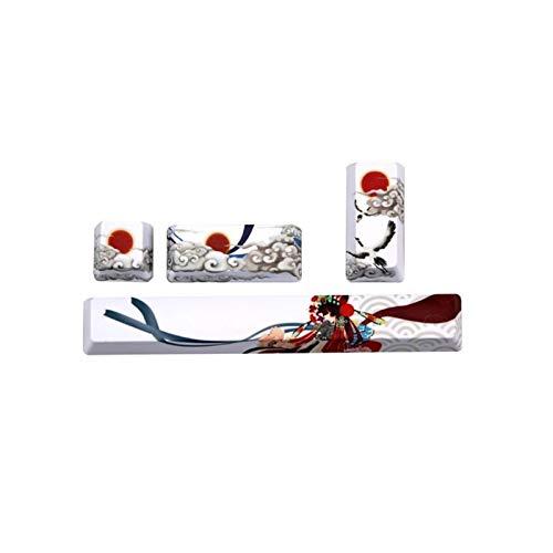 lifebea Tastenkappen 4 STÜCKE KEYCAPS PBT 5 Seiten Farbstoff-Subbett-Leertaste 6.25U Space Bar Keycap-Tastatur Peking-Oper gmk (Color : White)