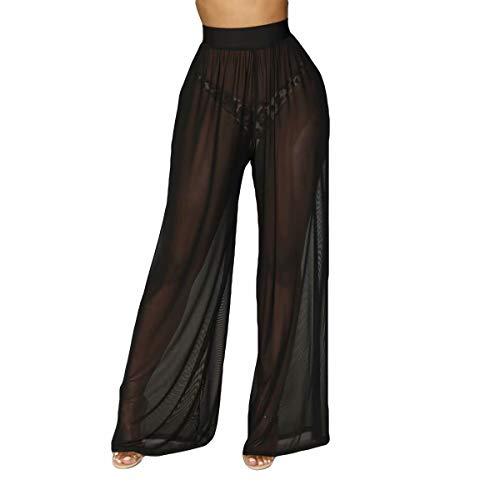 Frecoccialo Damen Reizvolle Transparente Sommerhose Hohe Taille Lose Fit Erotische Lange Hosen Dünne Mesh Weite Bikini Beinhosen
