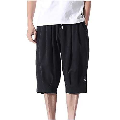 Men's Summer Casual Stretch Solid Short Pants Elastic Waist Pleat Shorts with Drawstring Black