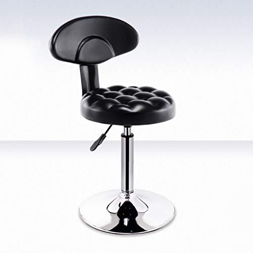 Zcyg Taburete alto X1, taburete de bar giratorio y elevador para la cocina, barras de desayuno negro curvado acolchado respaldo y reposapiés