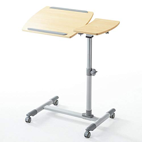 CHOUE Aluminum Alloy Adjustable Height Desk with Yellow Density Board,With Mouse Board, Adjusable height, Lockable Casters,Sofa Laptop Table for Left-hander, Right-hander, Height Adjustable Sofa Tray