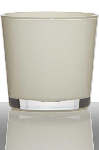 INNA-Glas Lot 2 x Pot de Fleurs Alena, Cylindre - Rond, crème, 19cm, Ø19cm - Cache-Pot en Verre - Verre décoratif