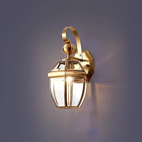 DKEE Personalità Creativa In Rame Lampada Da Parete Corridoio Corridoio Lampada Da Comodino Corridoio Nordic Semplice Illuminazione Esterna Impermeabile E27 luci da parete (Size : 18 * 33cm)