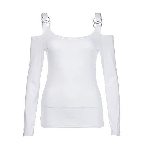 iHENGH Damen Herbst Winter Bequem Lässig Mode Frauenmode Solide Langarm trägerlos Oansatz Camis Bluse(XL,Weiß)