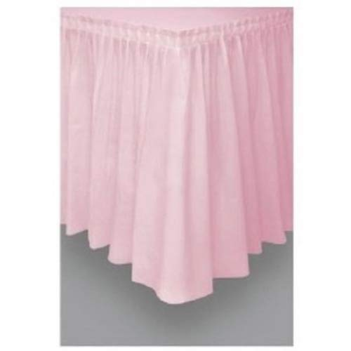 "Pink Plastic Table Skirt 29"" x 14' Rectangular Party"