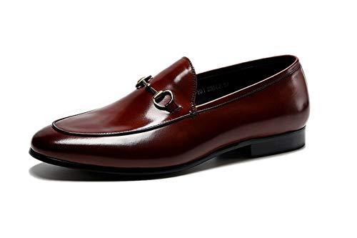 LZLHYH Mens Smart Casual Leder Slip on Loafers Schuhe Hochzeitsschuhe Abendschuhe Loafers, Smart Casual Formelles Italienisches Design, Metallknopf 5.5 UK-10.5UK,Braun,10UK