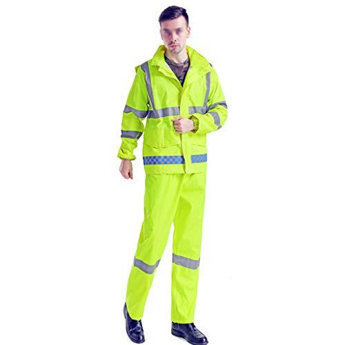 QARYYQ dubbellaagse overall-waarschuwingsbescherming met lange mouwen poloshirt reflecterende riem veilige werkknop ademend dun waterdichte regenponcho