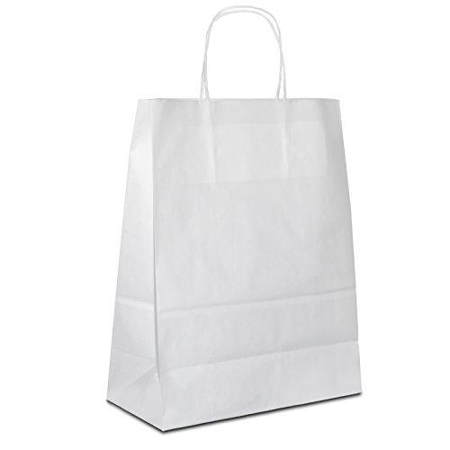 100 x Papiertüten weiss 22+10x28 cm | stabile Papierbeutel | Papiertragetaschen Kordelhenkel | Paper Bag klein | Werbetaschen | HUTNER