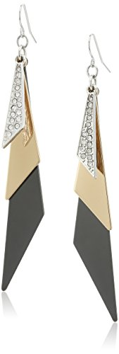 GUESS 'Basic' Mixed Metal Linear Triangles Drop Earrings